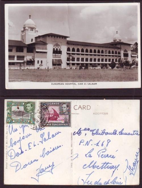 EUROPEAN HOSPITAL DAR ES SALAAM, TANGANYIKA Air Mail  To France, 1953 Incl 15cent Green - Tanzania