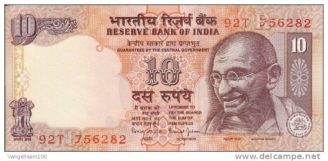 INDIA BANKNOTE 0f 10 Roupies, With MAHATMA GANDHI, TIGER, ELEPHANT And RHINOCEROS, UNC XF - Inde
