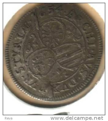 AUSTRIA  3 KREUZER KING FERDINAND IIIFRONT SHIELD BACK 1654 KM852 EF SILVER READ DESCRIPTION CAREFULLY!!! - Autriche