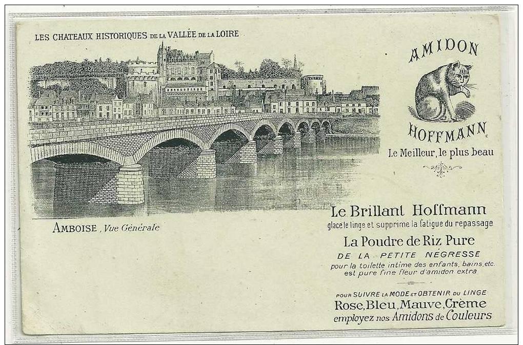 AMBOISE  VUE PONT CHATEAU  CARTE PUB AMIDON HOFFMANN   TIRAGE 1900 - Amboise