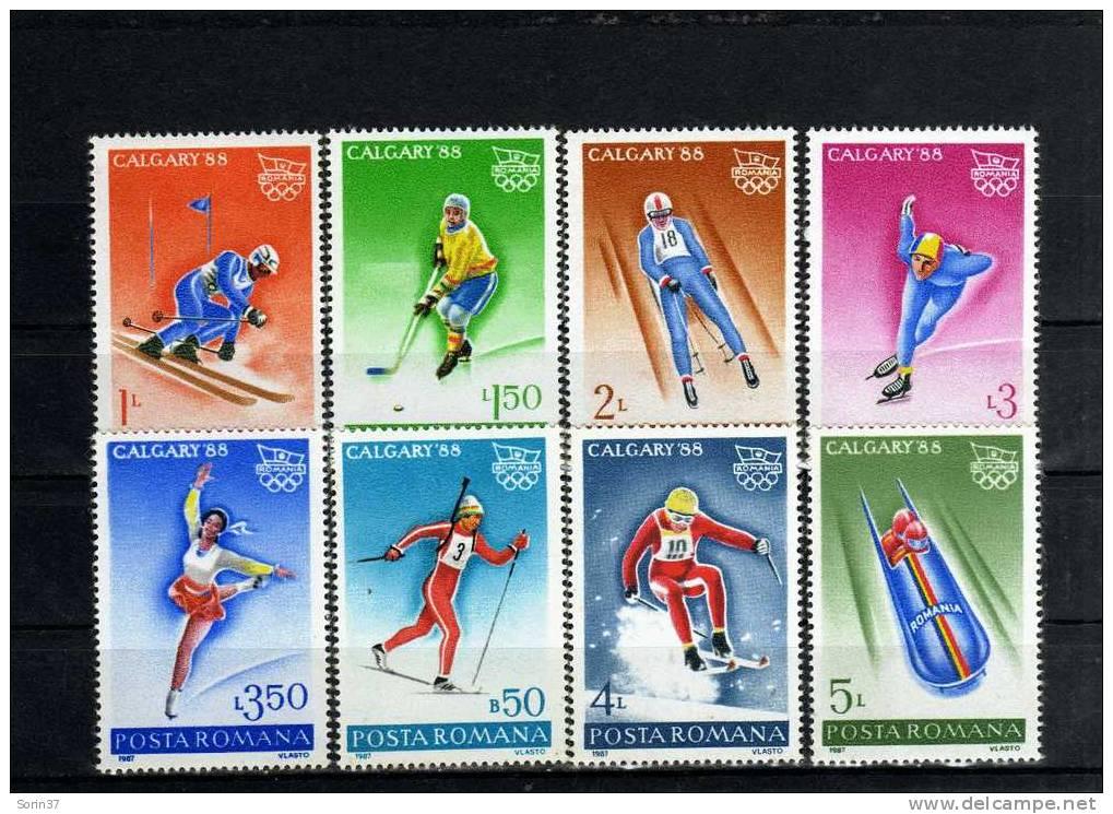 Serie Completa De Romania  Año 1987  Yvert Nr.3782/89  J.O. Calgary - Canada  Nueva - 1948-.... Repúblicas