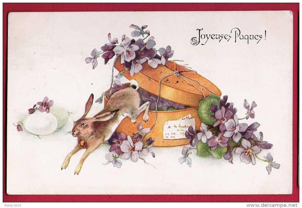 Joyauses Pâques! Superbe Litho. Violettes, Lapin, Boîte à Chapeaux. - Pâques