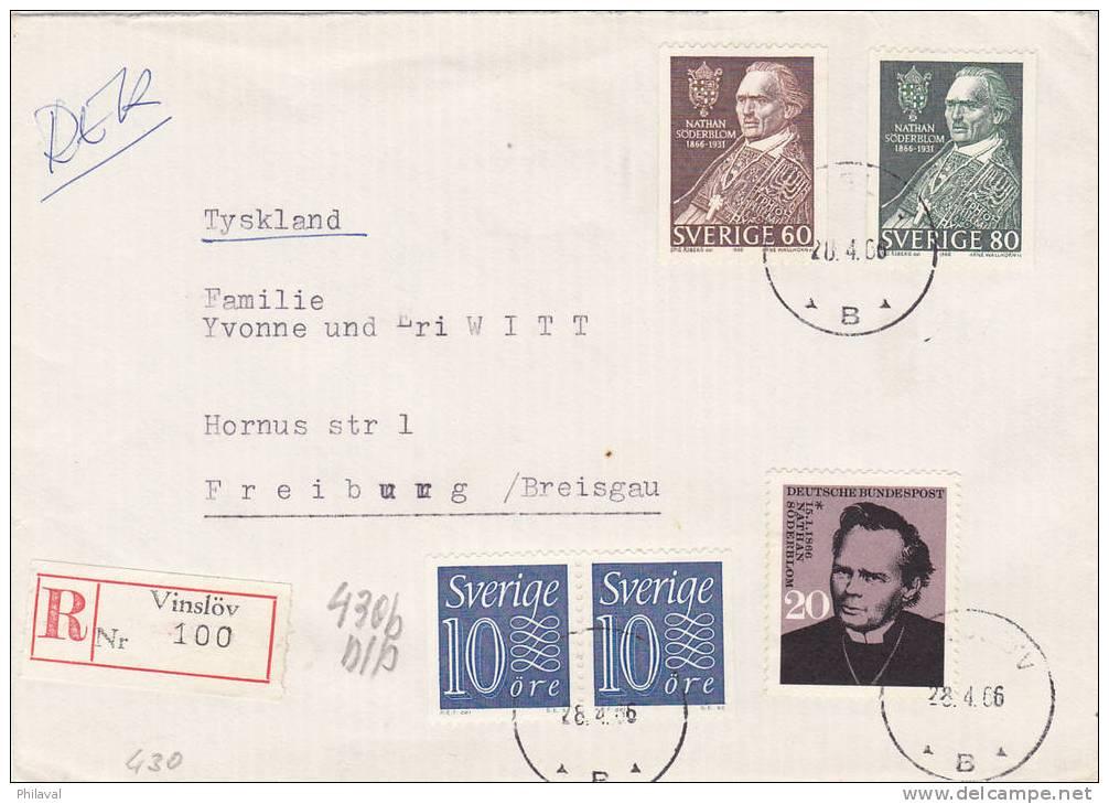 Lettre De Suède / Sverige, Vinslöv, Pour Freiburg - Suède