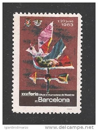 ERINNOFILIA - SPAGNA 1963 - VIGNETTA USATA DEDICATA ALLA XXXI FIERA UFFICIALE E INTERNAZIONALE DI BARCELLONA -BUONE COND - Erinnofilia