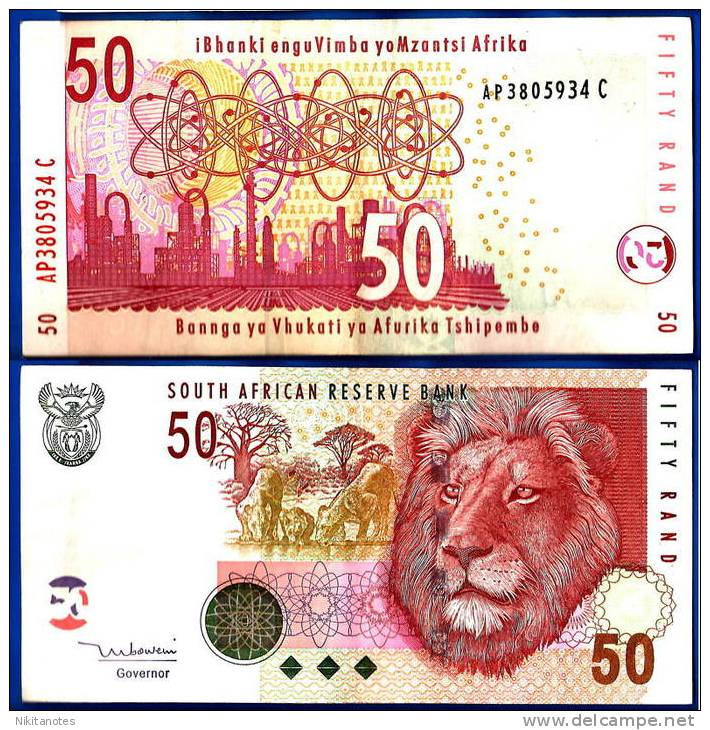 SOUTH AFRICA 50 RAND P-130 UNC BANKNOTE Lion 2005 - Zuid-Afrika
