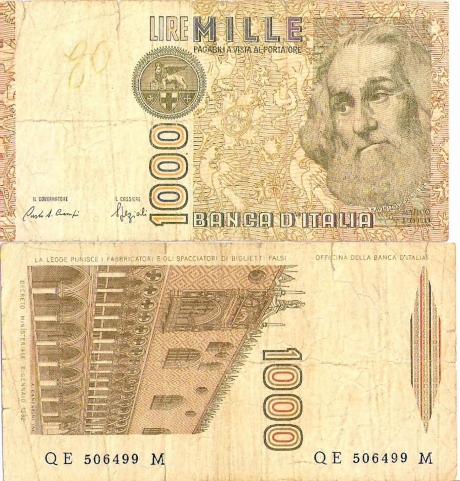 ITALIE 1000 LIRE  6.1.1982 P A160 TB - 1000 Lire