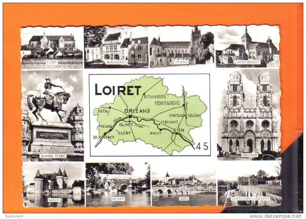 45 - Loiret - Carte Géographique // CPSM Multivues - Francia
