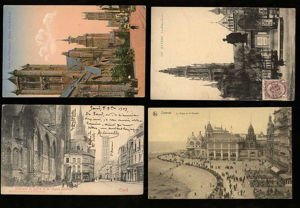 [Ref: 223/4] BELGIUM MIXED LOT VINTAGE PRE 1910 X7 POSTCARDS - BRUXELLES BRUGES  GENT ANVERSE OSTENDE -PALACES CATHEDRAL - Belgique