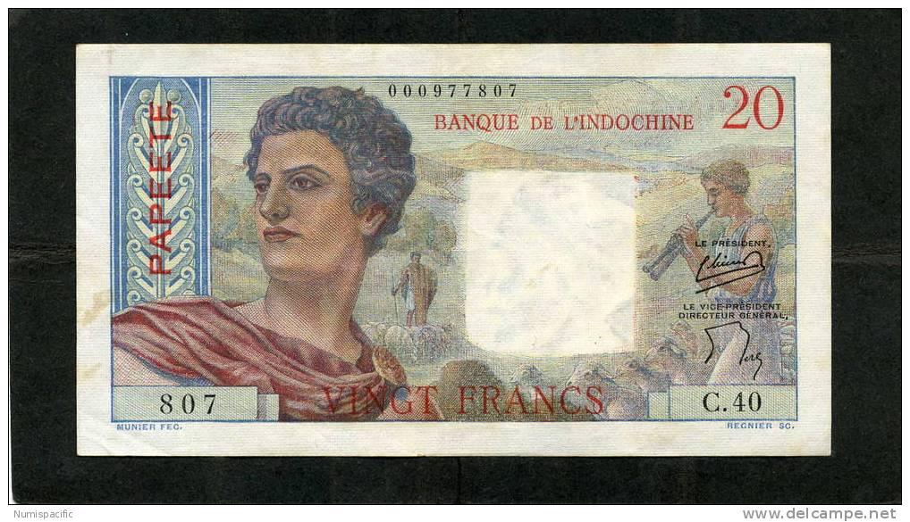 Tres Rare 20 Francs Jeune Berger De Polynesie Française 2eme Signature Alphabet C.40 !! - Papeete (Polynésie Française 1914-1985)