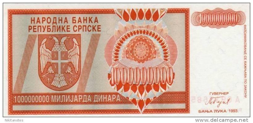 BOSNIA 1 MILIARD DINARA 1993 BANJA LUKA UNC - Bosnia Y Herzegovina
