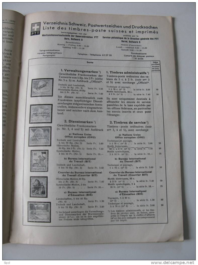 Schweizer Briekmarken Zeitung N°7  Bern Juli 1950- Journal Philatelique Suisse - Catalogues