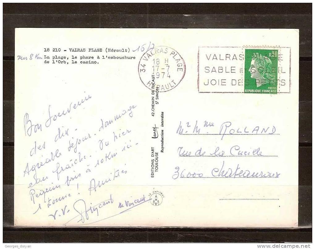 34 - CPM MULTIVUES DES ANNEES 1970 DE VALRAS PLAGE - ECRITE LE 17 JUILLET 1974 - France
