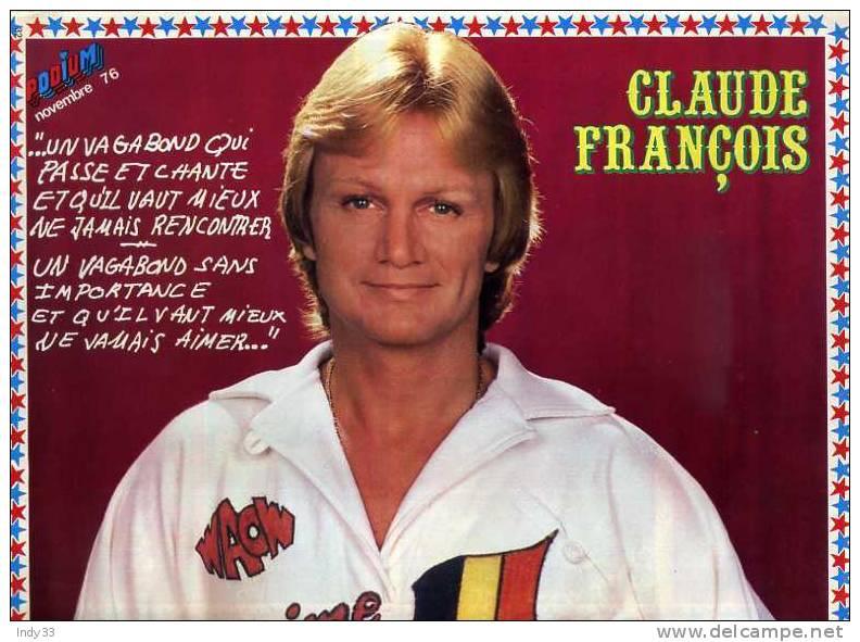 - POSTER CLAUDE FRANCOIS . PHOTO DOUBLE PAGE DU MAGAZINE PODIUM  1978 - Plakate & Poster