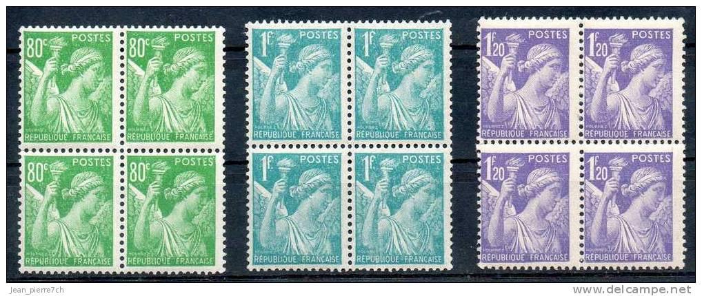 France Frankreich, Viererblock Y&T 649** - 651** - 1939-44 Iris