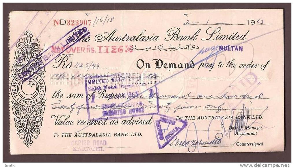 323907 Bank Cheque, The Australasia Bank Ltd. Multan Pakistan, 1963 - Bank & Insurance