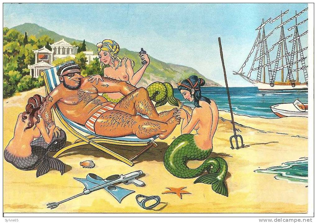 "MYTHOLOGIE GRECQUE-cpsm Illustrée POSEIDON ""the God Of The Sea"" - Greece"
