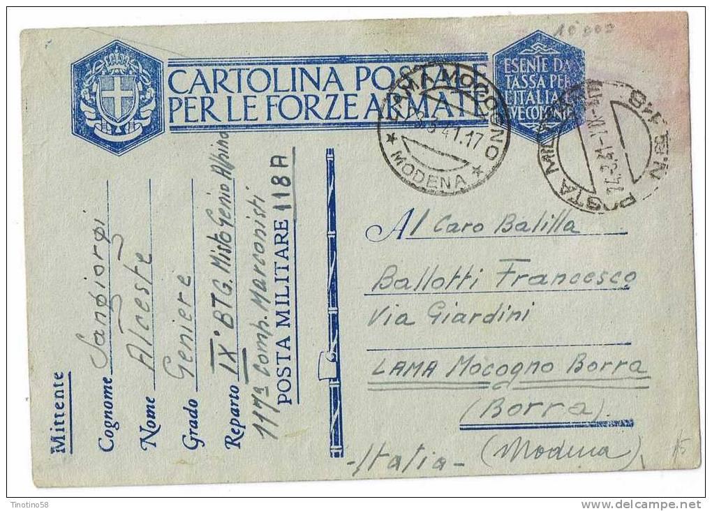 ALPINI   IX  BTG.  MISTO  GENIO  ALPINO---117 COMP.  MARCONISTI  1941  PER -- BORRA-- MODENA - Modena