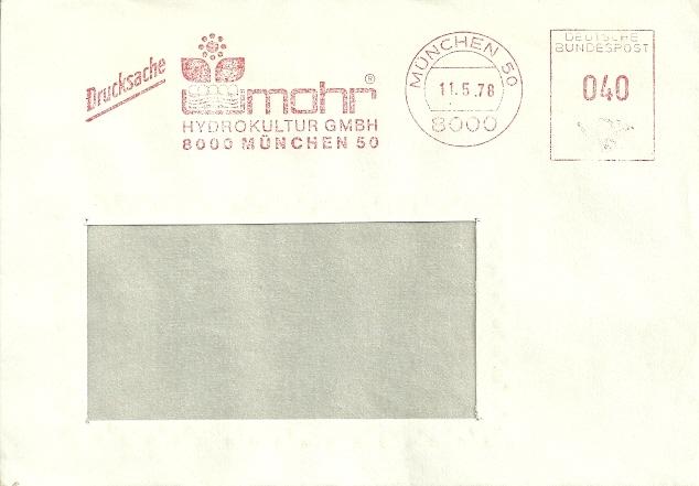 DEUTSCHLAND Drucksache München 1978 / Mohr Hydrokultur - Végétaux