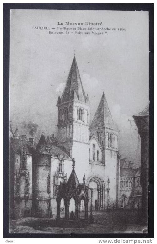 """21 Saulieu SAULIEU - Basilique Et Place Saint-Andoche En 1580. E Avant, """"Puits Moines"""" D21D K21584K C21584C RH004422 - Saulieu"""