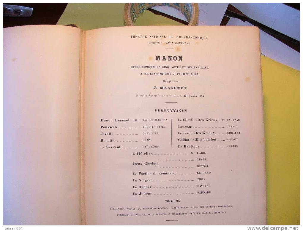 -  Livre Partition De MANON -  Dédicace Imprimée De  J. MASSENET à Madame C. MIOLAN-CARVALHO, 1895, Rare, Scans. - Opéra
