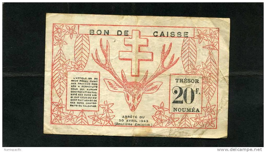Rare 20 Francs Rouge De Nouvelle Caledonie Type II Avec Au Revers 2eme Emission !!! - Nouméa (New Caledonia 1873-1985)
