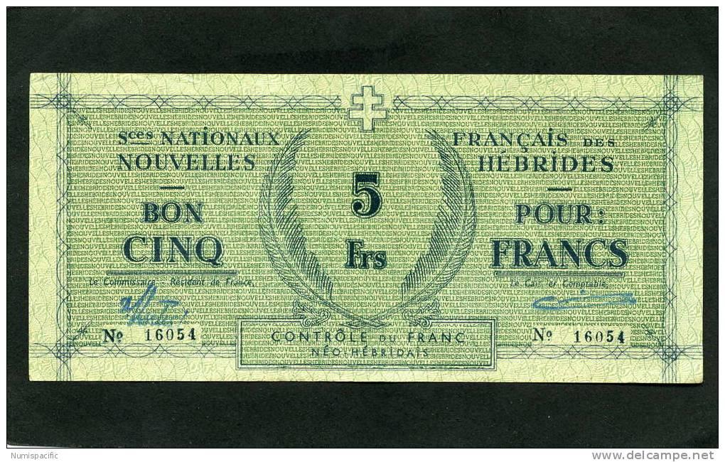 Rarement Proposé Dans Cet Etat 5 Francs Bleu Sur Papier Vert Des Nouvelles Hébrides SPL !! - Bankbiljetten