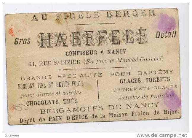 Chromo Au Fidèle Berger  HAEFFELE Confiseur Nancy Bergamotes Pain D´épice Pralon - Elfe Fée Papillon Masque - Sin Clasificación