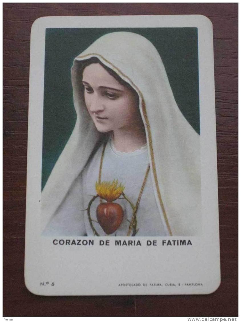 ANTIGUO CALENDARIO BOLSILLO FOURNIER CORAZON DE MARIA DE FATIMA 1975 - EXCELENTE ESTADO - Calendarios