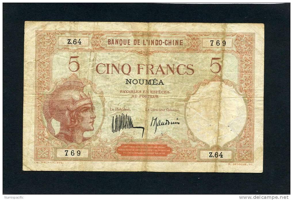 """Billet De 5 Francs """" Walhain """" Type 1926 Sign C De Nouvelle Calédonie - Nouvelle-Calédonie 1873-1985"""