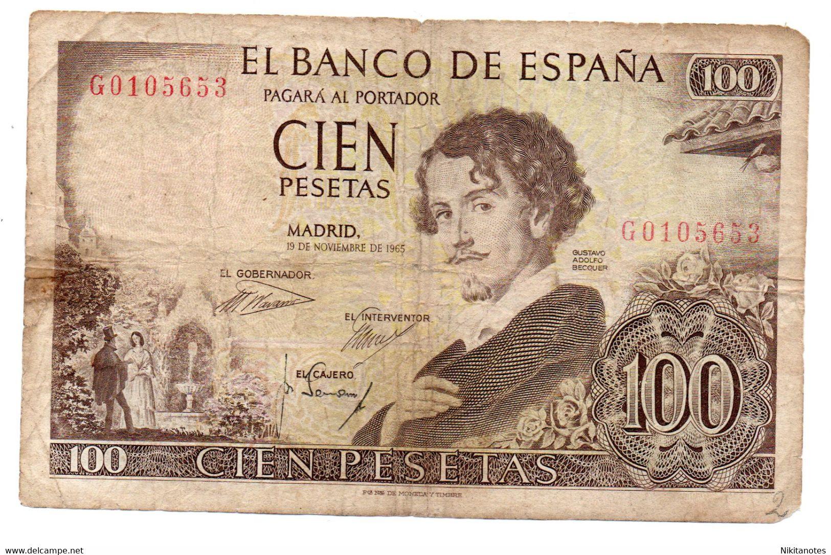 SPAIN 100 PESETAS 1965 P.150 GUSTAVO ADOLFO BECQUER - [ 3] 1936-1975 : Regency Of Franco