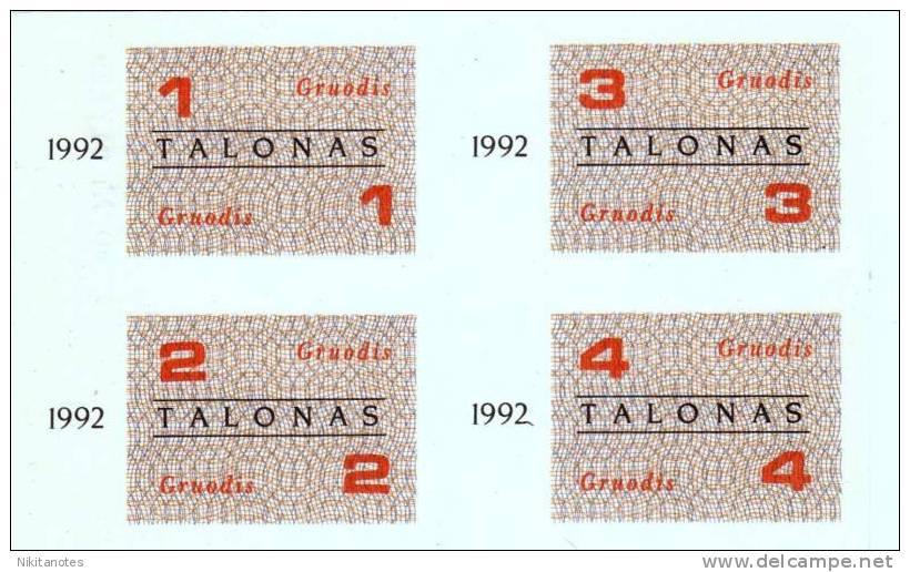 Lithuania, 1 & 2 & 3 & 4 Talonas, 1992, UNCUT UNC - Lituanie
