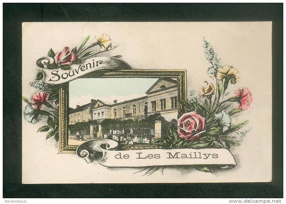 Souvenir De LES MAILLYS ( Côte D'Or 21) - Mairie école Animée Cadre Fleurs DESAIX - France