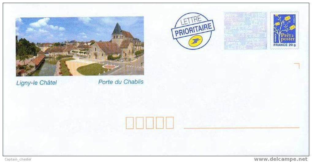 """PRET A POSTER DE LIGNY LE CHATEL """" Porte Du Chablis """"  YONNE  NEUF ( Eglise , Rivière ) - Entiers Postaux"""