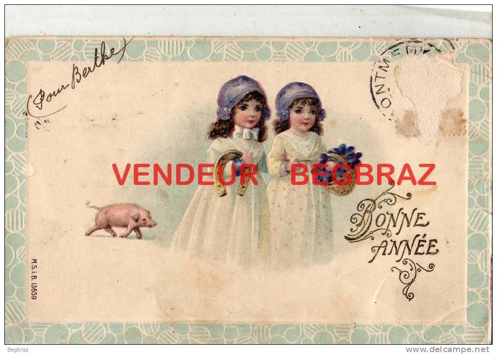 COCHONS      GAUFFREE    BONNE ANNEE - Varkens