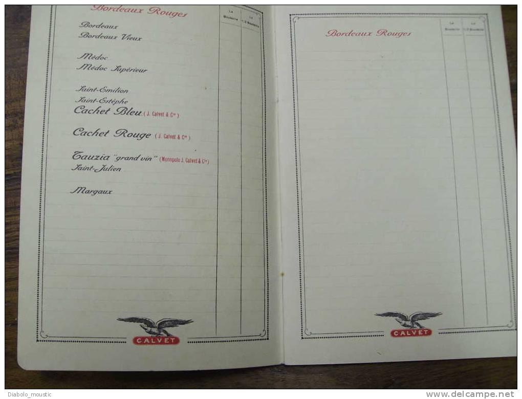 Carte Des Vins    De La Maison CALVET Et Cie  BORDEAUX - Placas De Cartón