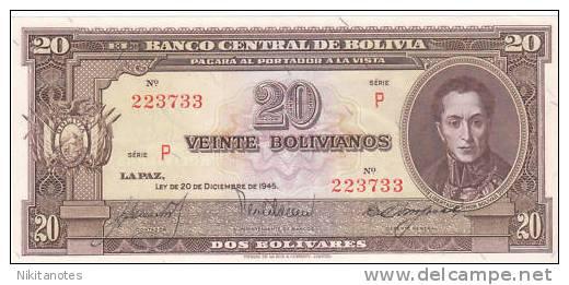 BOLIVIA BANKNOTE - 20 PESOS BOLIVIANOS LEY 1945 UNC - Bolivia