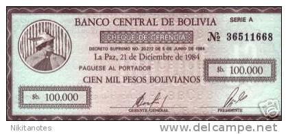BOLIVIA 100000 PESOS BOLIVIANOS 1984 UNC - Bolivia