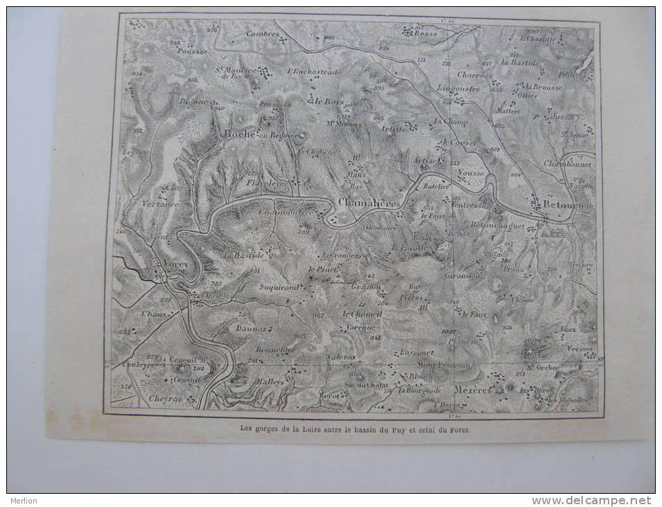 Les Gorges De La Loire - Puy -Forez - Chamalieres Mezeres Cheyrac  - Gravure-engraving 1866 KA435.19 - Estampes & Gravures