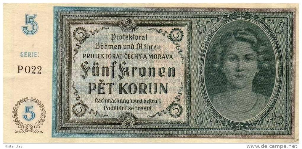 BOHEMIA AND MORAVIA - 5 KORUN,1940 - F Vf - Tsjechoslowakije