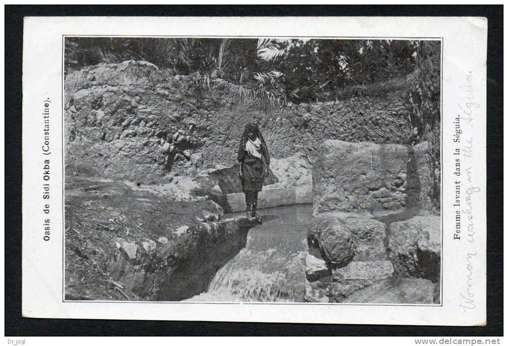 AL9) Algeria - Constantine - Oasis De Sidi Okba - Femme Lavant Dans La Séguia - Constantine