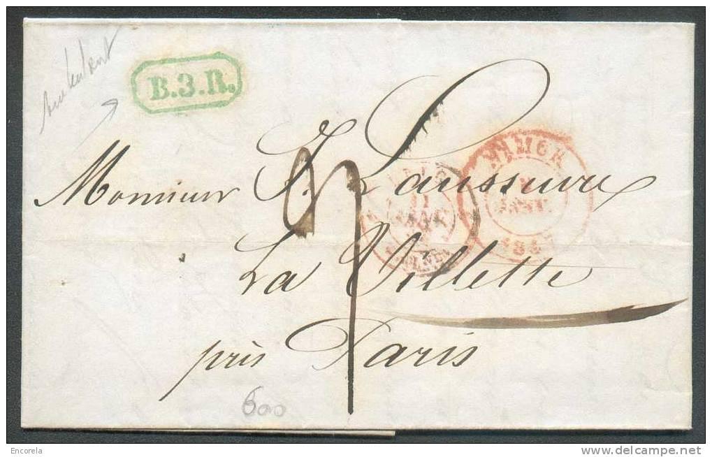 LAC De NAMUR Vers Paris Le 9 Janvier 1847 + Marque De Rayon De L´ambulant B.3. R. (de Couleur Verte) - 5816 - Unclassified