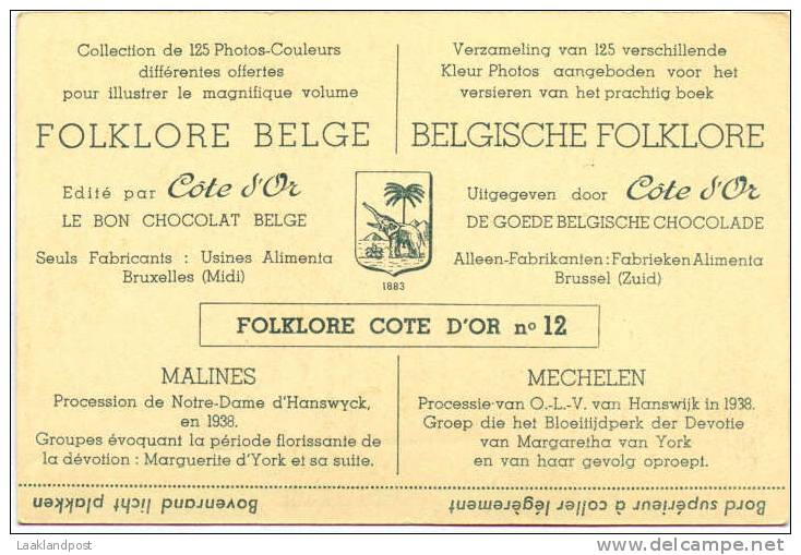 FOLKLORE BELGE VINTAGE CARD ISSUED BY COTE D'OR CHOCOLATE; MALINES, Procession Due Notre Dame - Heilige Plaatsen