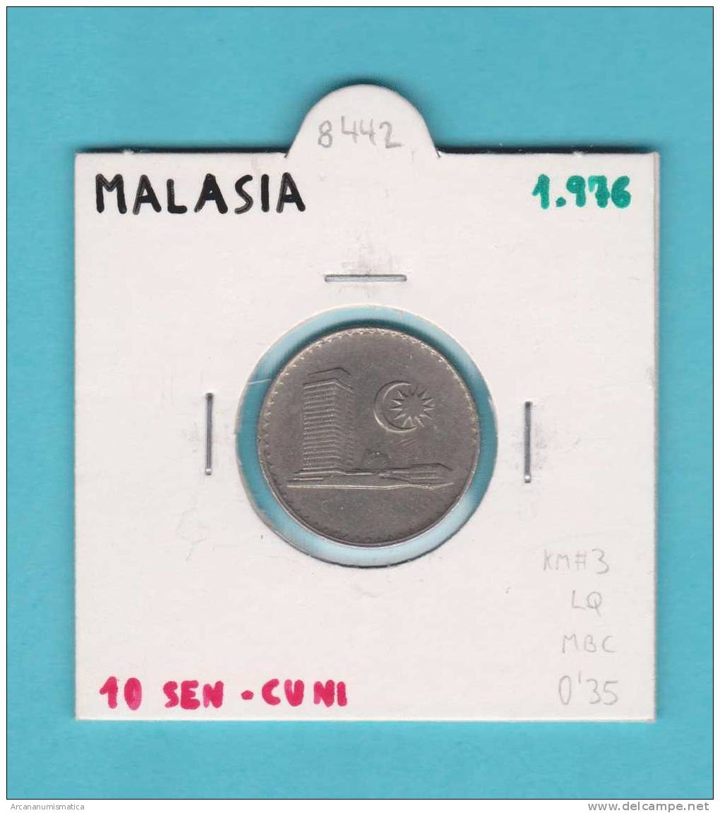 MALASIA  10  SEN   1.976   CU NI    KM#3   MBC/VF      DL-8442 - Malasia