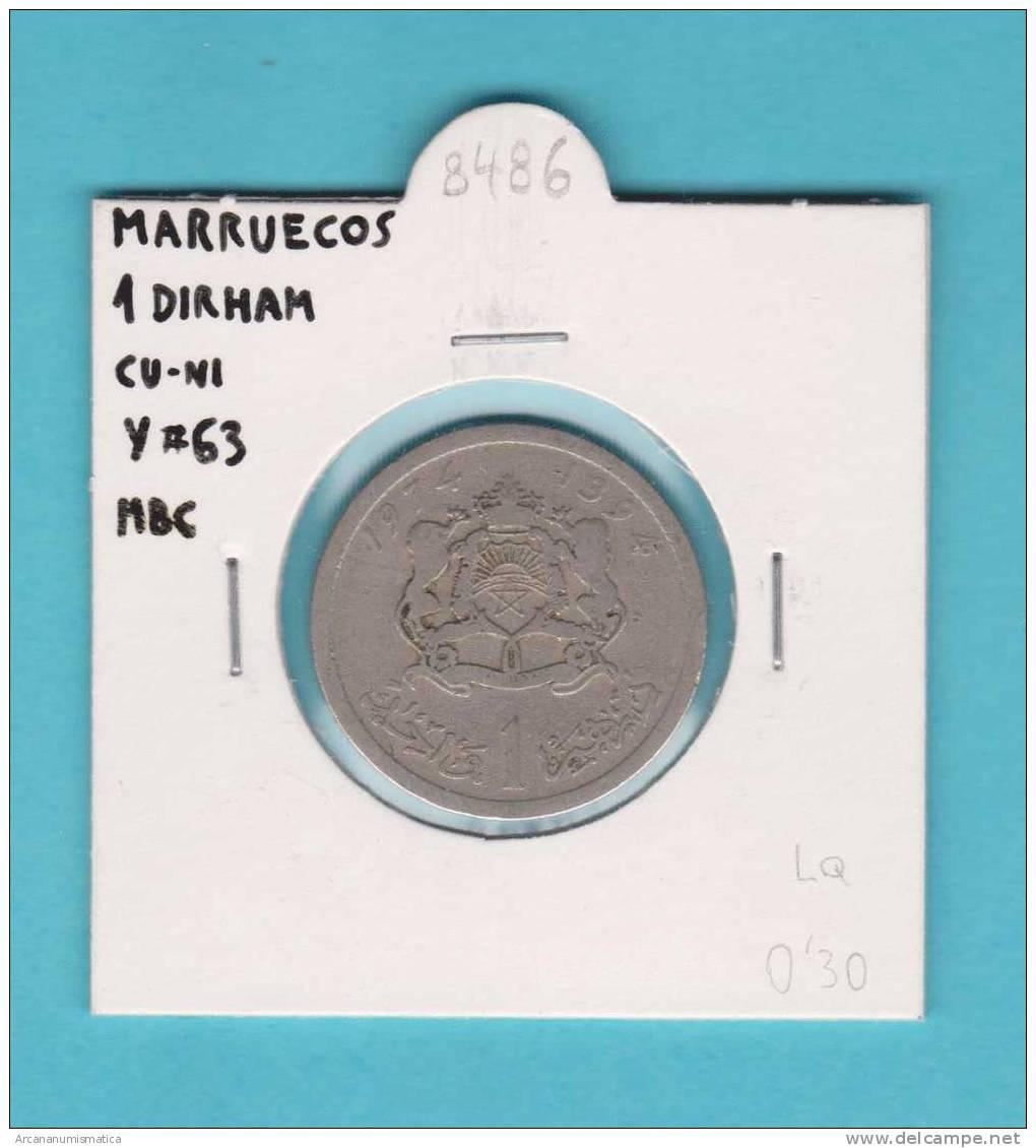 MARRUECOS   1  DIRHAM     CU NI    Y#63     MBC/VF    DL-8486 - Marruecos