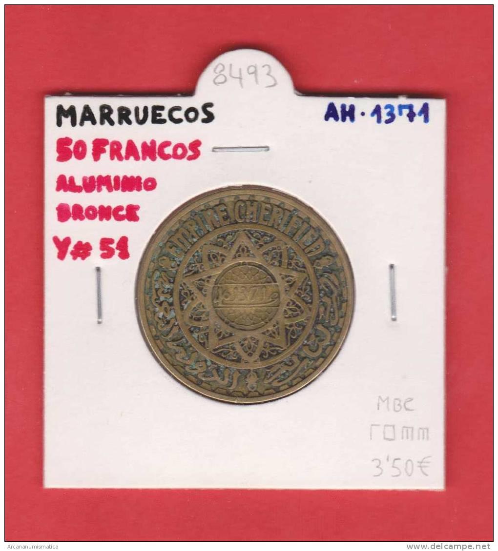 MARRUECOS   50  FRANCOS   AH  1371    Aluminio Bronce  Y#51   MBC/VF   DL-8493 - Marruecos