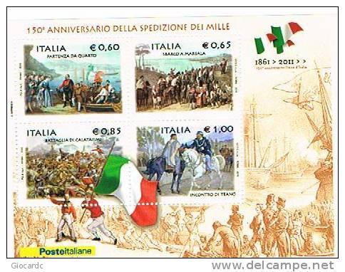 ITALIA  REPUBBLICA - UNIF.NC. -  2010 150^ ANNIV. DELLA SPEDIZIONE DEI MILLE 1861   -  FOGLIETTO     NUOVO (MINT) ** - 6. 1946-.. Repubblica