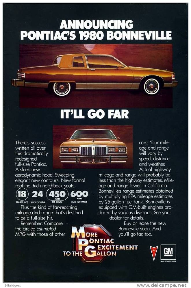 Pontiac Bonneville Advert 1980 - Cars