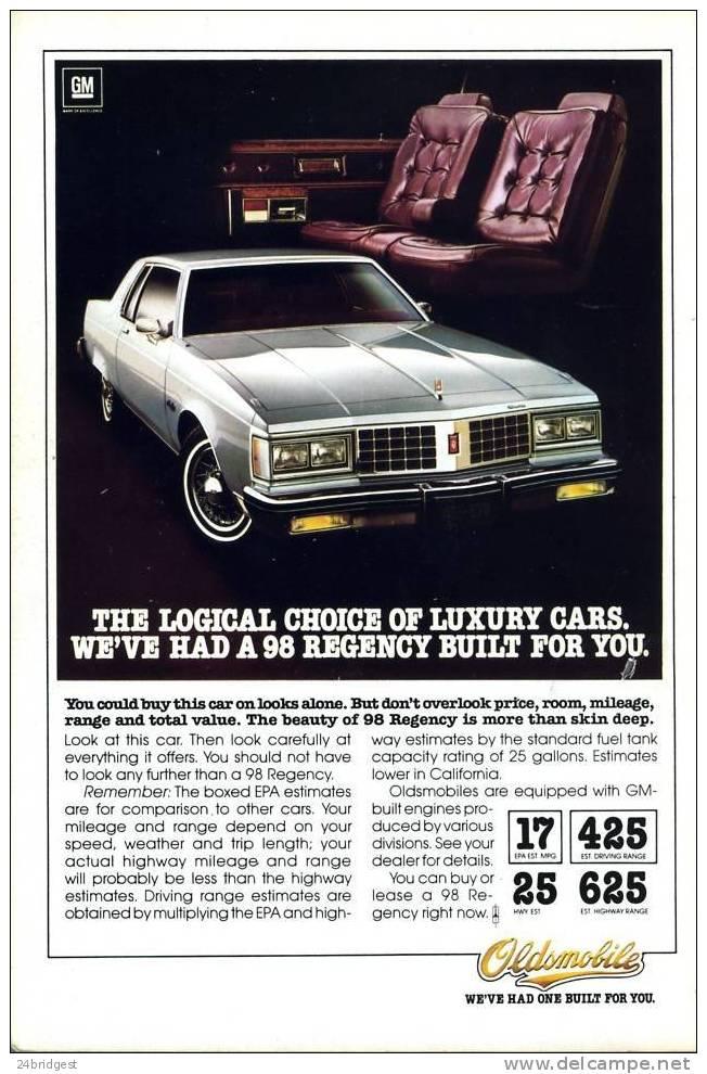 Oldsmobile 98 Regency  Advert 1980 - Cars