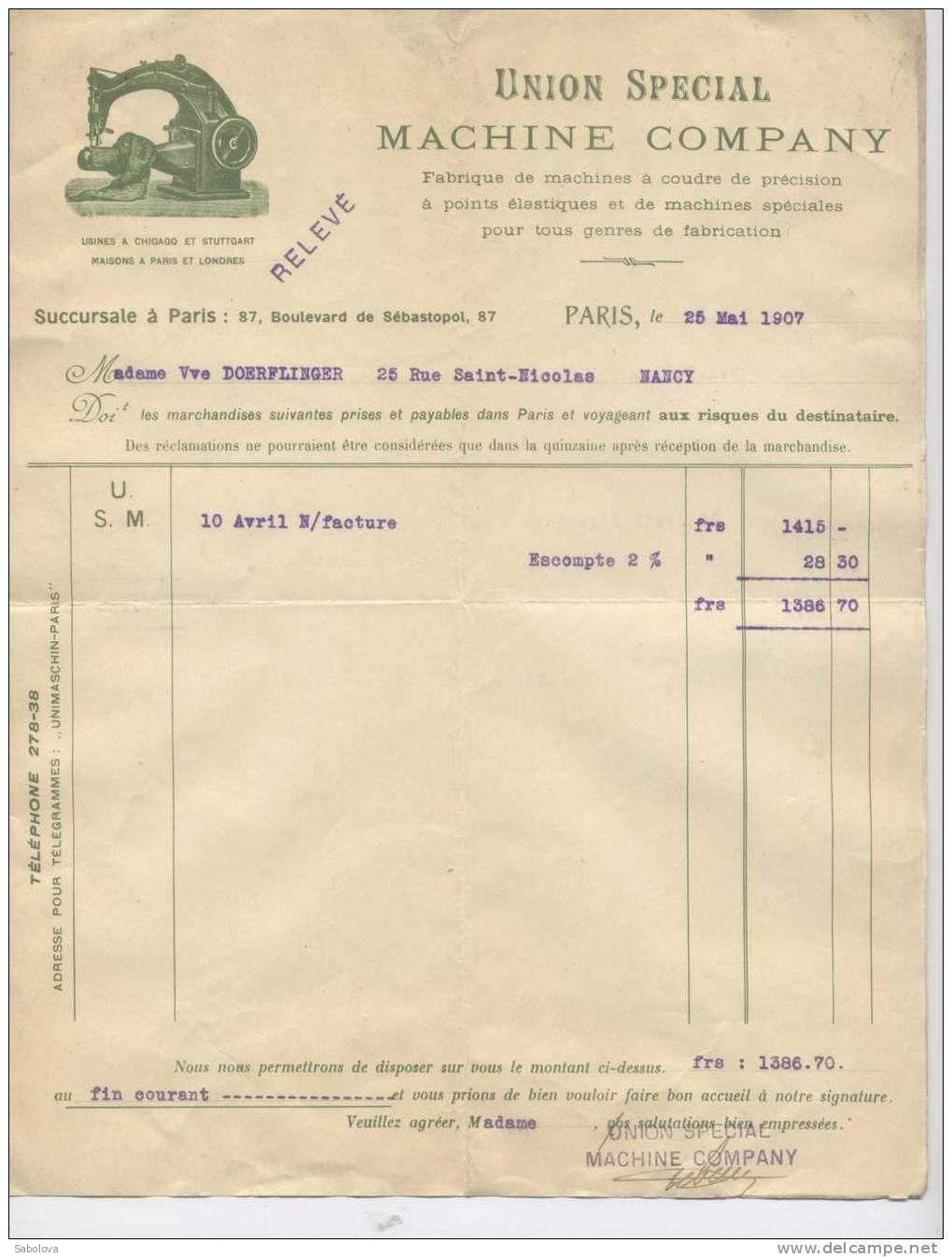 Facture  Union Spéciale Machine Company Machine à Coudre Paris 87 Bd Sébastopol - Fatture & Documenti Commerciali