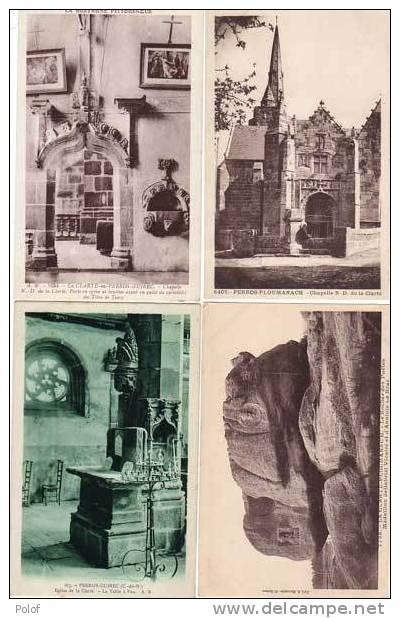 4 Cpa-la Clarte En Perros Guirec La Chapelle - Eglise, La Table A Feu  - Le Rocher Des Poetes    (14063) - Ploumanac'h